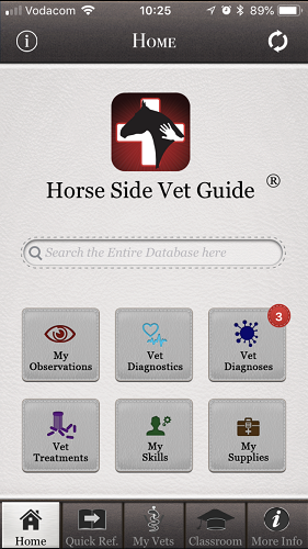 The brilliant Horse Side Vet Guide mobile app - Home Page of App [Screenshot]