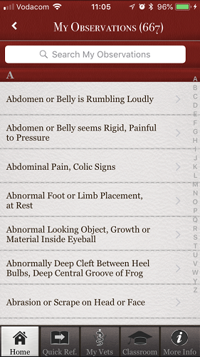 The brilliant Horse Side Vet Guide mobile app - Your potential Observations List [Screenshot]