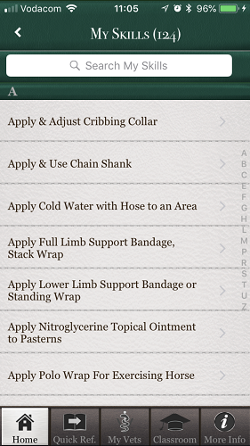 The brilliant Horse Side Vet Guide mobile app - Your Skills to Learn [Screenshot]