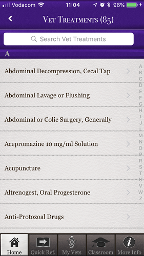 The brilliant Horse Side Vet Guide mobile app - Vet Treatments List [Screenshot]