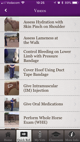 The brilliant Horse Side Vet Guide mobile app - Video List [Screenshot]