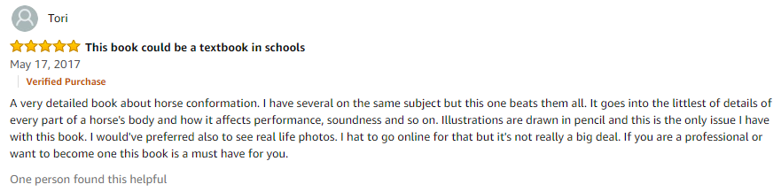 Amazon review of the Horse Conformation Handbook